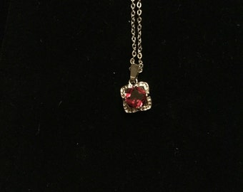 Red ruby cz pendant necklace