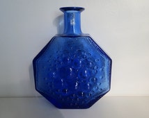 "Riihimäen Lasi, ""Stella Polaris"", Bottle Vase, Nanny Still, 1960s, Blue, Pressed Glass, Colored Glass, Scandinavian Design Vintage"