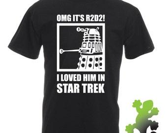 R2D2 Dalek T-shirt - Funny Parody Star Trek Wars Doctor Who Joke Top