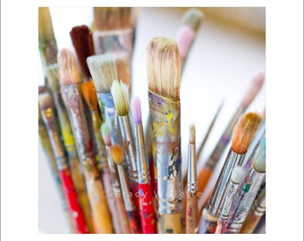 Multi colored artist paintbrushes with shallow focus