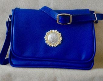 Cobalt Blue Leather Handbag