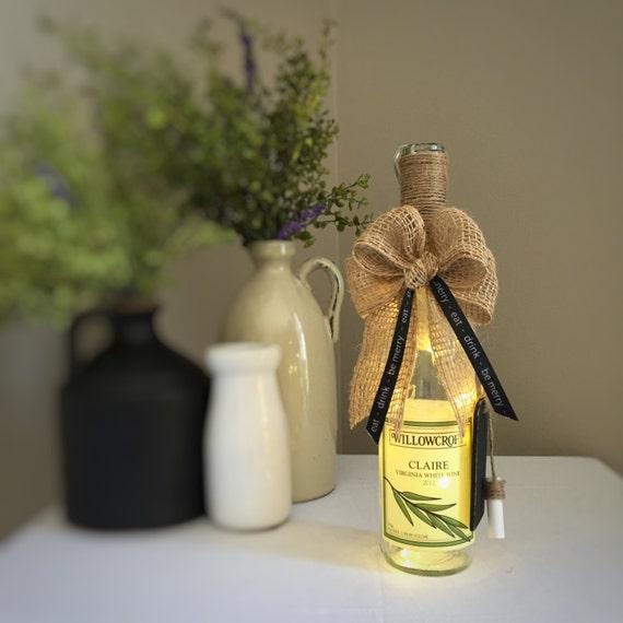 Wine Decor/Wine Bottle Light/Cordless Lamp/Claire/Virginia Wine/Eat Drink Be Merry/Vineyard Decor/Repurposed Bottle/Botanical/Willow Branch