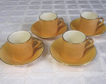 Royal Winton Grimwades - 4  Orange Demitasse Espresso Coffee Cup and Saucer Sets - Art Deco Style