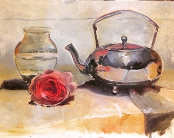Rose with glass and kettle