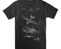 Sea Plane  Patent T-Shirt. Airplane Patent Shirt. Airplane Blueprint Tee. Soft Cotton Tshirt. Available on Black, Red, White, or Gray.