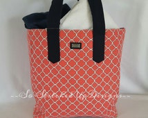 Monogrammed Salmon and Navy Canvas Tote.  Personalized and Preppy Tote bag/ Beach/ Pool/ Market bag to carry everything!