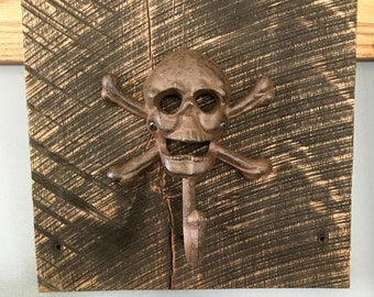 Skull Hook on Reclaimed Wood