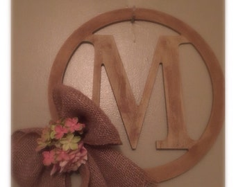 12' in  Monogram wooden wall hanging with flower and burlap ribbon