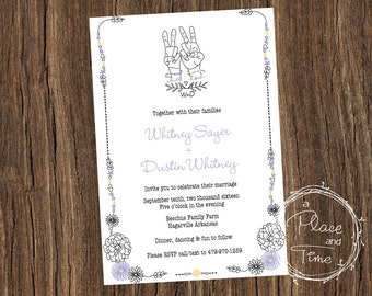 Printable Peave, Love and Flower Power Wedding Invitation