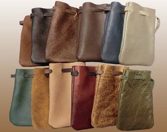 Drawstring Leather and Suede Pouches Made in USA (Assortment of 12 Pieces) Party Favors Gift Idea