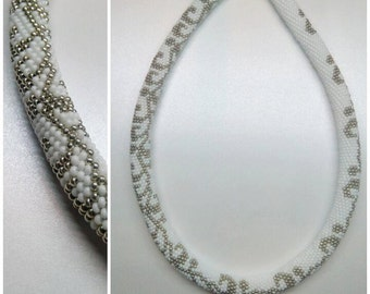 White and silver necklace. Crochet bead rope necklace. Elegant and contemporary gift for every woman