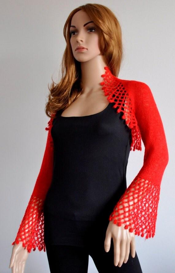 Red Shrug Bolero Shawl Scarf Bridesmaid Accessories Handmade hand knitted wrap Mohair yarn Ready to Ship