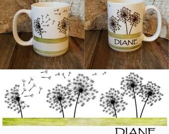 Personalized Mug, Dandelion Mug, Personalized Mug, Personalized Coffee Mug, Unique Coffee Gift, Unique gift