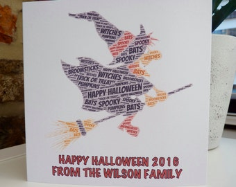 Pack of 5 Personalised Halloween Cards, Personalised Witch Halloween Cards,  Personalized Halloween Cards,  Personalised Cards