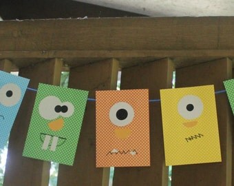 Monster Party Banner Bunting
