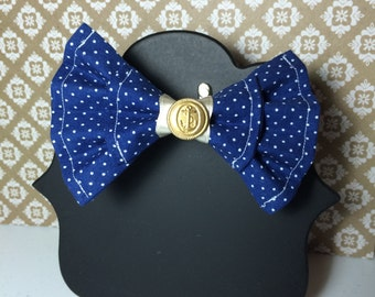 Double-Layered Blue Dotted Nautical Bow
