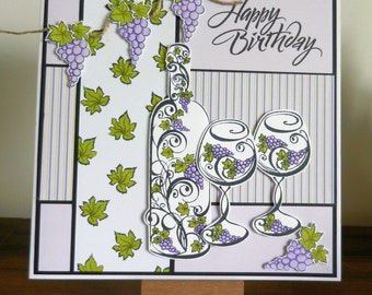"Bottle of wine with glasses Birthday Card 8"" x 8"""