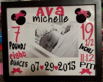 Personalized birth announcement frames