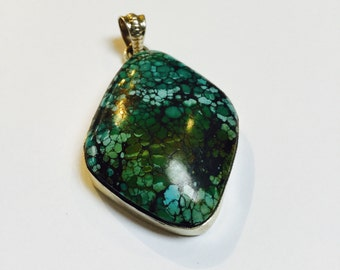 Turquoise and Sterling Silver Pendant - 1 Piece - #517
