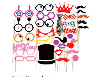 Photo Booth Props for Birthday - 30 Pieces Set - Mustache Glasses Photo booth Party Props Lovely glasses Props Baby Birthday Party Backdrop