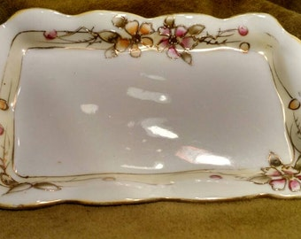 Nippon hand painted porcelain tray, floral design