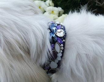 Dog collar, cat collar, diamond collar, purple, violet,  shiny collar, elegant collar