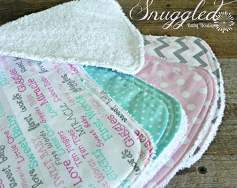 Sweet Baby Girl Burp Cloths Set of 4