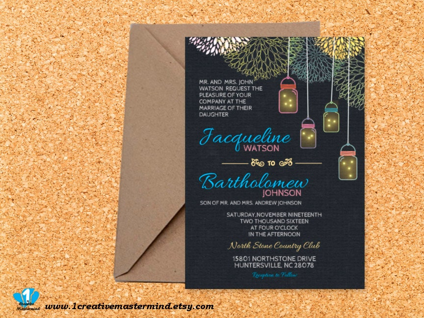 DIY Wedding Invitation Template Printable Editable PDF