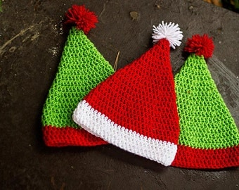 Santa Hat Crochet Elf Hat Crochet Christmas Hat