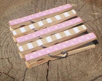 Horses and Stripes Clothespin Magnets Clips Set of 5 Pink White Gold