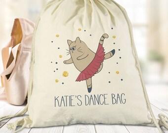 Personalised Dancing Cat Cotton Bag