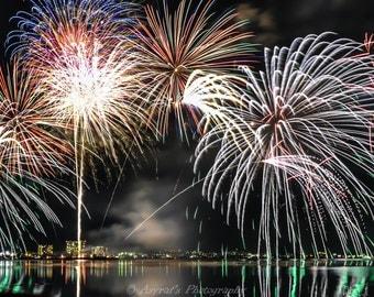 Fireworks Photo Wall, Large Canvas Photo, Biwako Japan, Night Landscape Art, Home Decor Ideas, Fireworks Wall Art