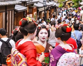 Japan Maiko Photo, Kimono Canvas Prints, Japanese Geisha, Traditional Japan, Japan Wallpaper, Home Decoration, Large Wall Art, 5x7, 8x12