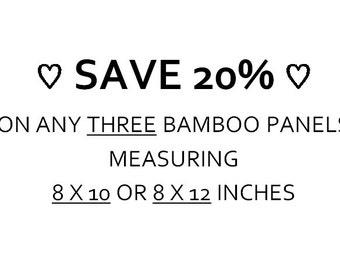 SAVE 20% - Choose Any THREE Bamboo Panels 8x10 or 8x12, Wall Art Display, Art Discount Set, Home Decor Ideas, Bamboo Print, Home Wall Art