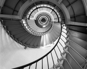 Silver Spiral (Florida Lighthouse Black & White Staircase Seashell Architecture Film Photo Print Photograph Darkroom Pattern Art)