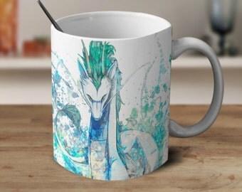 Spirited Away, Haku Dragon Mug, Studio Ghibli Mug, Spirited Away Mug, Anime, Anime Mug Watercolor Mug, Magic Coffee Mug, Color Changing Mug,