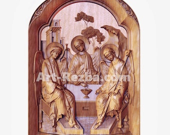Holy Trinity (2)  - 3D Art Orthodox Wood Carved religious icon
