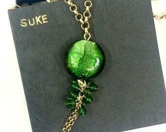 Long Green Glass Brass Necklace