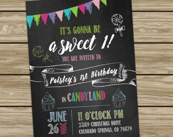 Children's Candyland Birthday  Invitation DIGITAL FILE