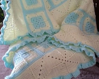 Crocheted Baby Afghan/3D Square Baby Blanket
