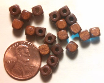 Brown wood, square bead, 5mmx5mm