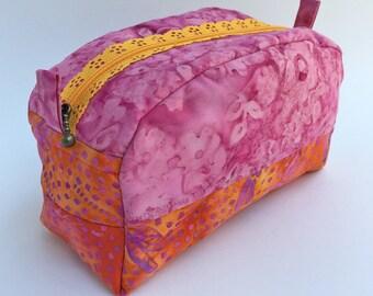 School Supplies - Makeup Bag - Toiletry Bag - Travel Bag - Zipper Box Bag - Notions Bag - Makeup Organizer - Gift for her - Gift for Mom
