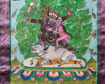 Tibetan Thangka representing Yamantaka