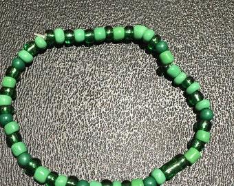 Green Beaded Elastic Bracelet