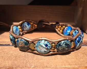 Blue Ocean and Gold Bead Relic Leather Wrap Bracelet