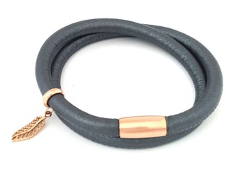 Leather Double Wrap in Charcoal
