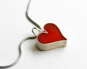 Sterling silver red heart pendant. Minimalist red resin pendant.