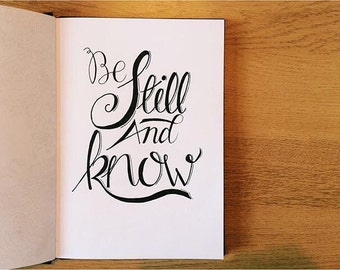 Psalm 46:10, Hand Drawn Word Art – 'Be still and know'