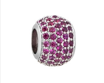 Pink CZ Charm Bead, 925 Sterling Silver, fits Pandora Bracelets or Any Chain