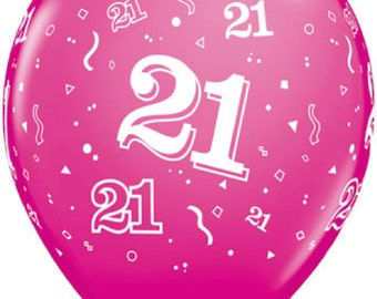 """6 x 11""""  21st  Latex Balloons in Wild Berry by Qualatex Adult's Birthday"""